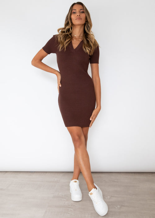 Talisha Knit Dress - Chocolate