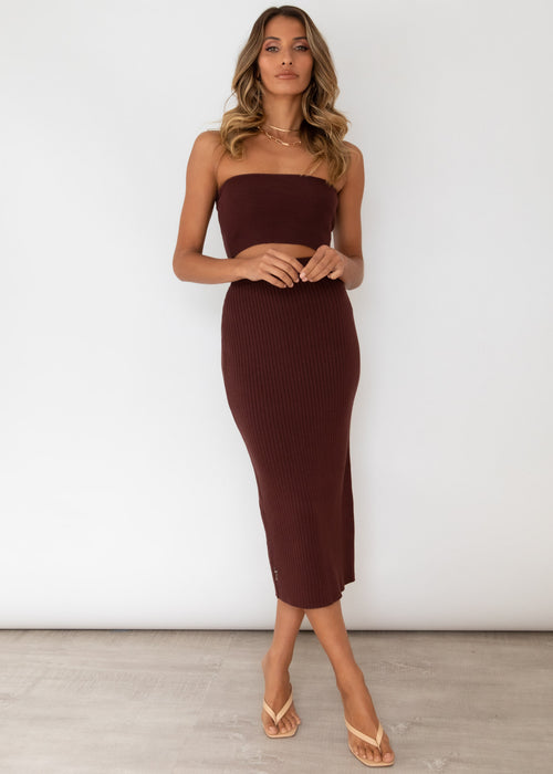 Ellora Knit Midi Skirt - Chocolate