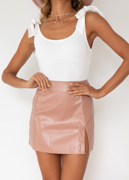 Affection PU Skirt - Tan