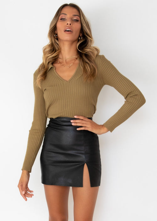 Conquer Pu Skirt - Black