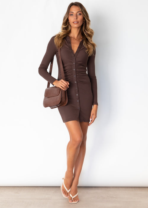 Dont Rush It Knit Dress - Chocolate