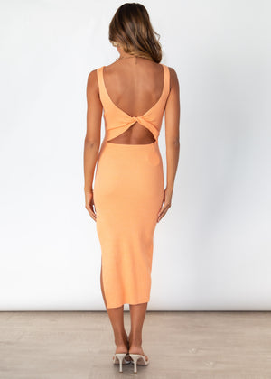 Miami Knit Midi Dress - Tangerine
