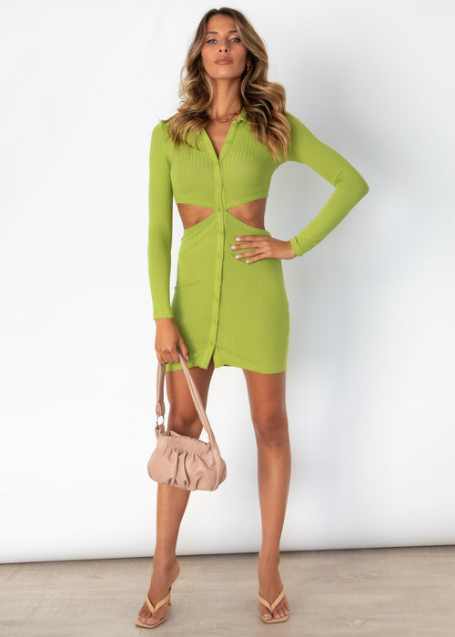 Sweet N Simple Cut Out Knit Dress - Pistachio