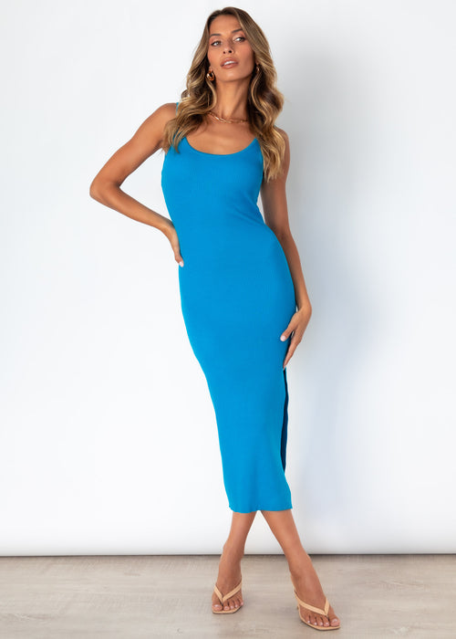 Miami Knit Midi Dress - Cobalt