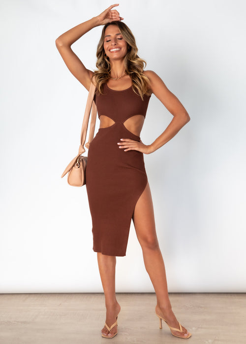 Gigi Knit Midi Dress - Chocolate