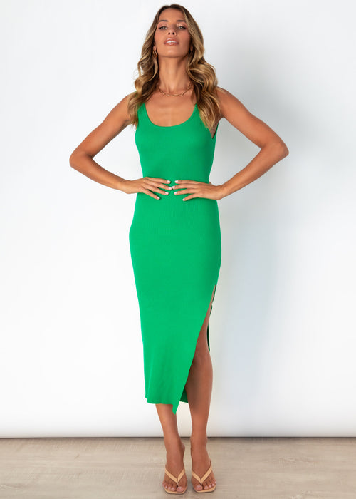 Miami Knit Midi Dress - Emerald