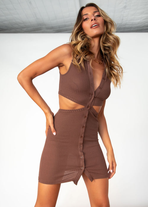 Richie Cut Out Knit Dress - Chocolate