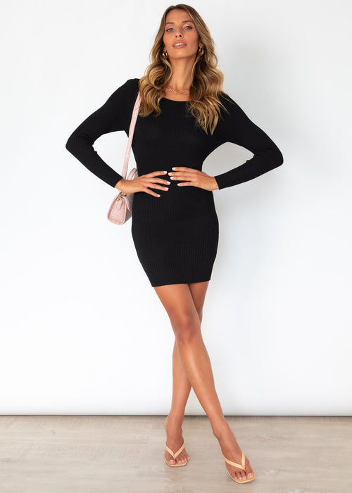 Bold Moment Knit Dress - Black