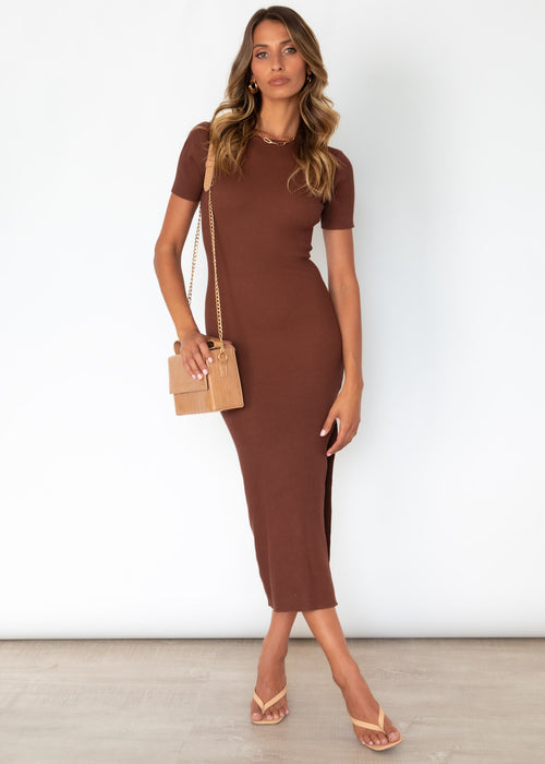 Open Roads Knit Dress - Chocolate