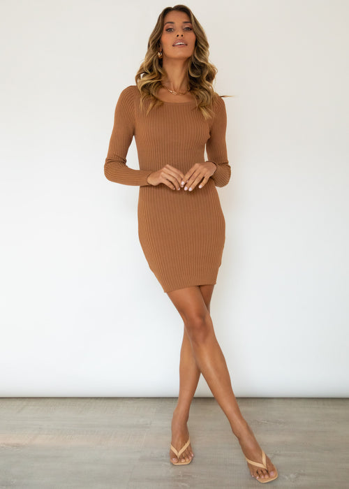 Bold Moment Knit Dress - Tan