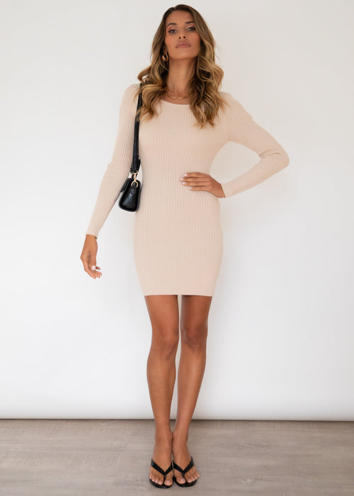 Bold Moment Knit Dress - Nude