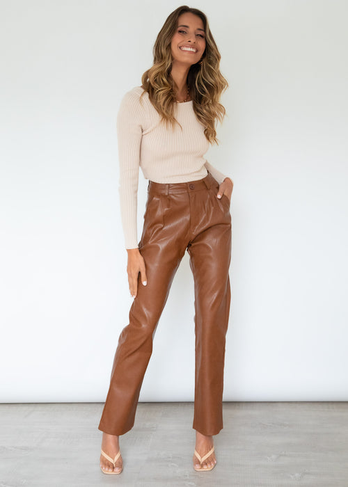 Out Tonight Leather Look Pants - Tan