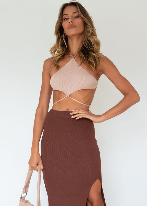 Regent Knit Midi Skirt - Chocolate