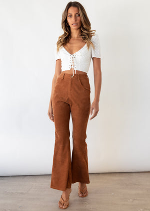 Throwback Flare Cord Pants - Chocolate