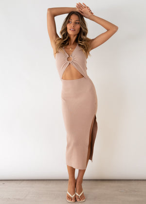 Cabo Nights Cut Out Knit Midi Dress - Beige