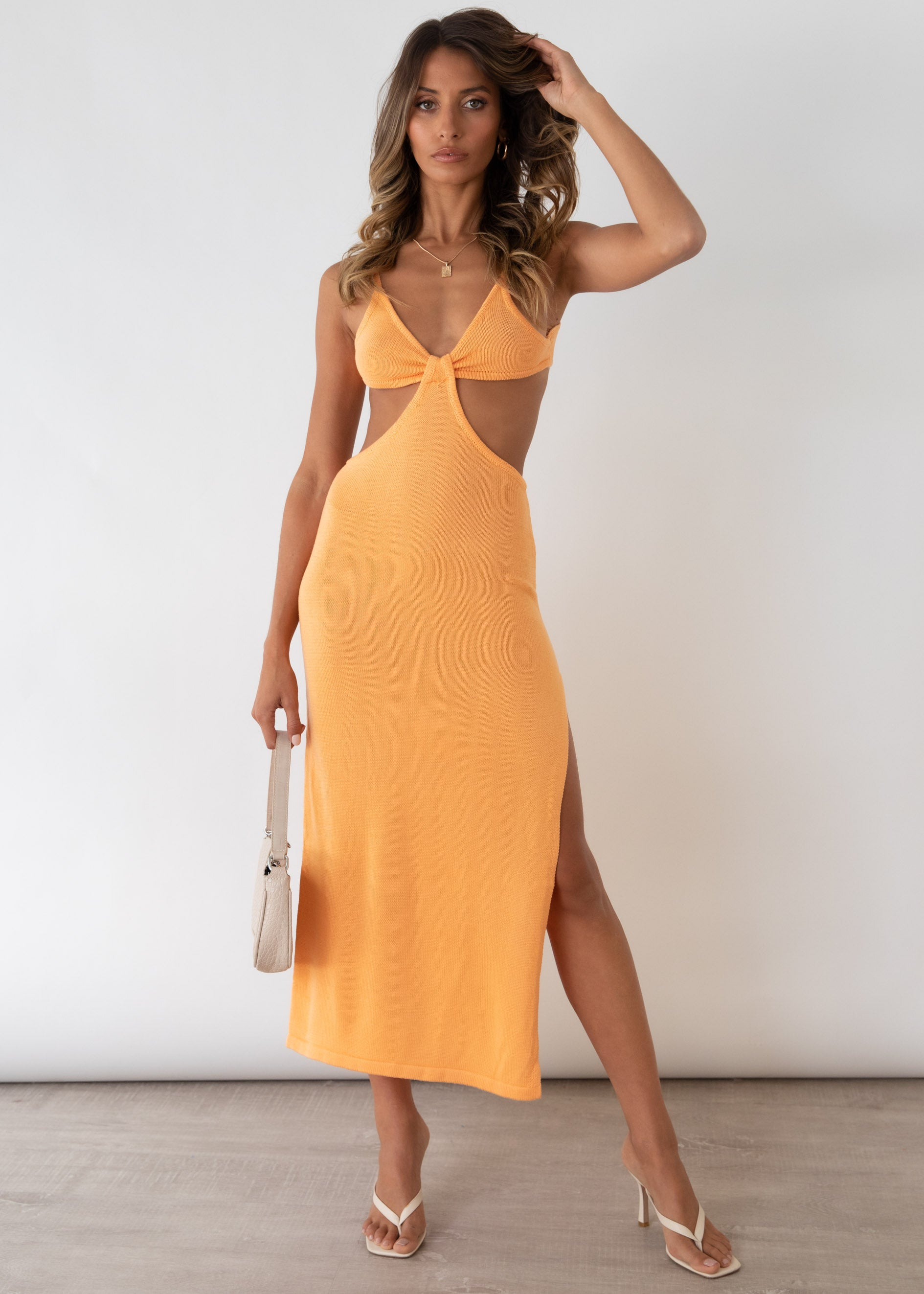 Paramount Cut Out Midi Dress - Tangerine
