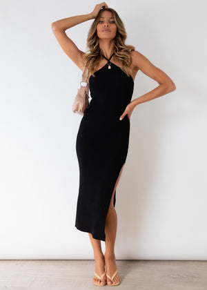 Skyler Halter Knit Midi Dress - Black