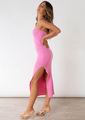 Skyler Halter Knit Midi Dress - Pink