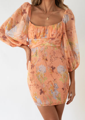 Summer Skies Dress - Tangerine Floral