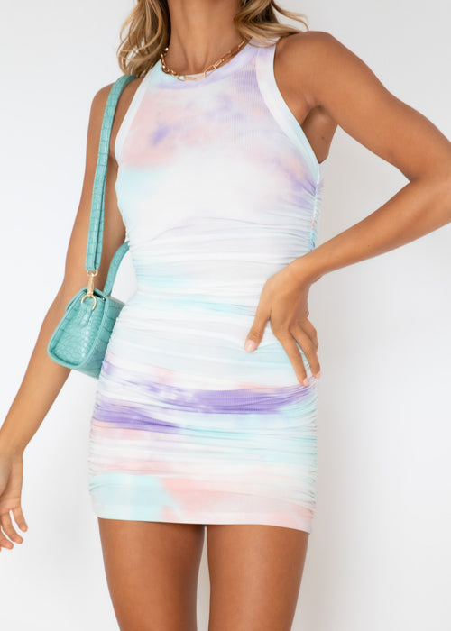 Eccentric Ruched Mini Dress - Lilac Tie Dye