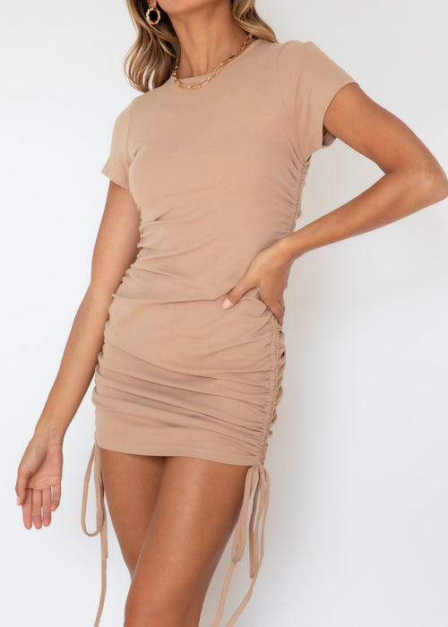 Elvis Ruched Dress - Camel