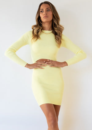 Sundays Cut Out Knit Dress - Lemon