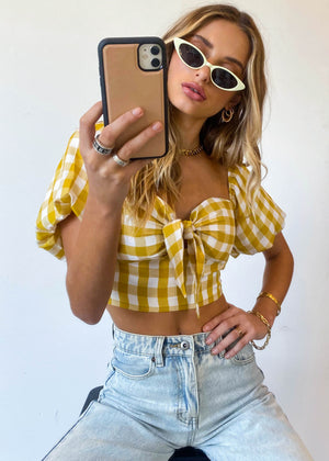 Uptown Crop - Yellow Gingham