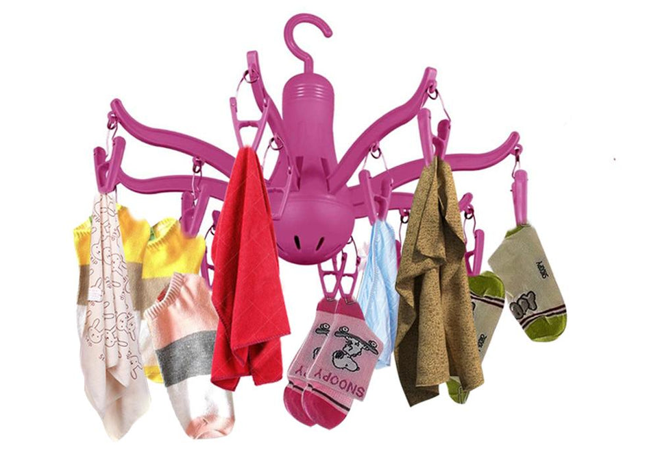 229 -8-Claw Octopus Hanging Dryer 16 Clothes pegs, Simple to fold up and Put Away