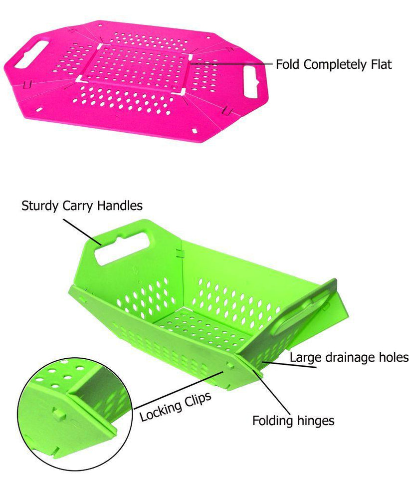 704 -3 in 1 Fruit & Vegetable Chopping Board Wash Folding Basket