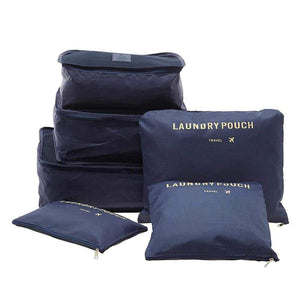 Waterproof Cubes Travel Packing Luggage Cloth Organizer Storage Compression Pouch Laundry Zipper Bags - 6 pcs Set