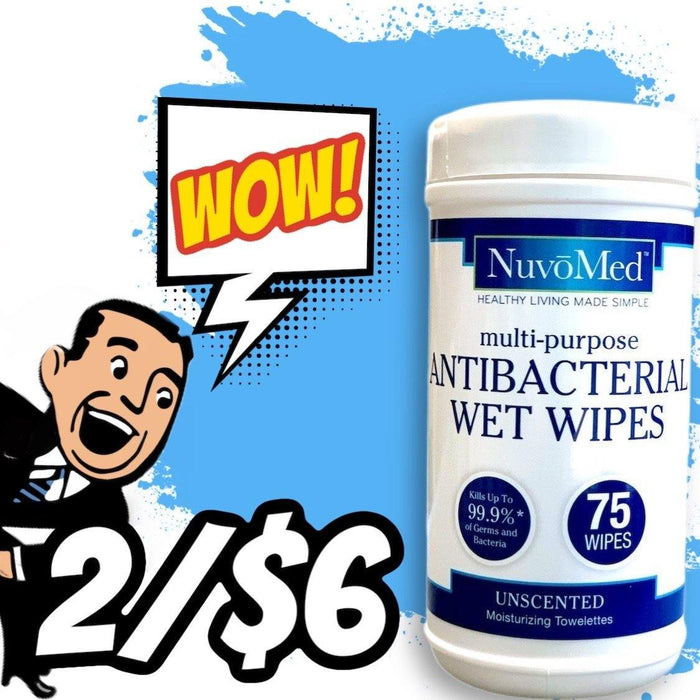 NuvoMed Antibacterial Wet Wipes 75 ct - Darn Cheap Discounts