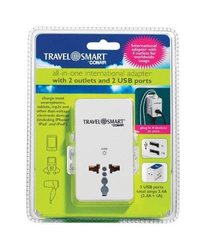 Travel Smart International Adapter w/ 4 Outlets For Worldwide Usage - Darn Cheap Discounts