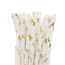 Load image into Gallery viewer, Glitter Gold Unicorn Paper Straws