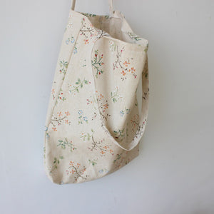 Flower Print Canvas Tote Satchel