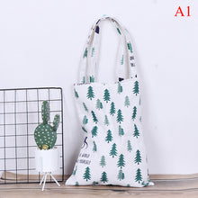 Load image into Gallery viewer, Cotton Linen Eco Shopping Tote Shoulder Bag