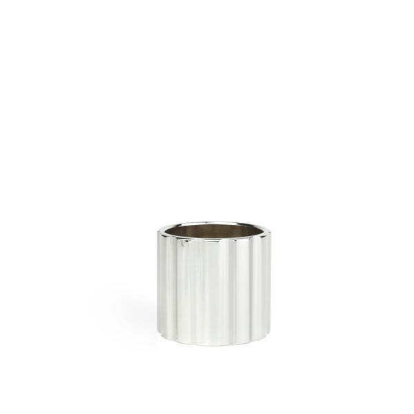 DUAL candle holder low - silver