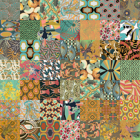 The Golden Coast design on a Neoprene product, a palette of yellows, greens and oranges, and geometric patterns representing the flora and fauna of the ocean