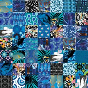 A patchwork design on neoprene fabric, with pelicans, blue dhufish, blue crabs, and other costal inspired flora and fauna in a blue patchwork. Handrawn Artist Designed Fabric - Neoprene Lifestyle accessories - Pink Lake Road, Australia.