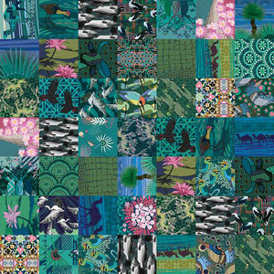 Emerald Boab, seabird and floral designs for  patchwork neoprene fabric,  Handrawn Artist Designed Fabric - Neoprene Lifestyle accessories - Pink Lake Road, Australia.