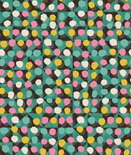 Load image into Gallery viewer, This picture shows a spotted pattern of pink, yellow, green and cream, overlaying a triangle geometric pattern, for the reversible side of a neoprene picnic blanket and play mat, by Pink Lake Road.