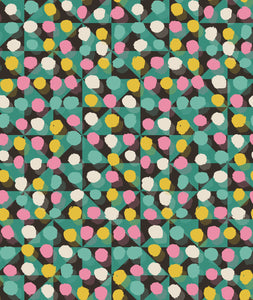 This picture shows a spotted pattern of pink, yellow, green and cream, overlaying a triangle geometric pattern, for the reversible side of a neoprene picnic blanket and play mat, by Pink Lake Road.