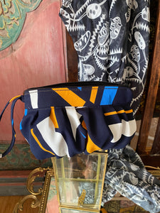 Summer Wrap & Pouch combo - Banksia Geometric Navy White and Yellow