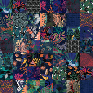 A marine flora and flora themed patchwork, full of colour, designed for neoprene products. Includes a blue kingfisher bird, seaweed and coral inspired patterns. Handrawn Artist Designed Fabric - Neoprene Lifestyle accessories - Pink Lake Road, Australia.