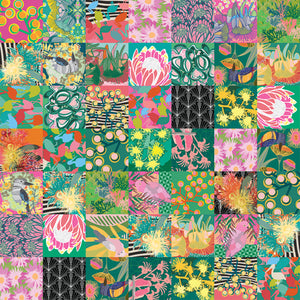 A patchwork pattern in bright pinks, greens and yellows, showing Pink wattle, proteas and blossoms, Handrawn Artist Designed Fabric - Neoprene Lifestyle accessories