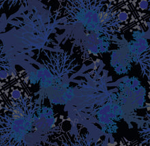 Load image into Gallery viewer, This picture shows pattern of ocean flora like coral, in shades of blue, overlaying another geometric design, for the reversible side of a neoprene picnic blanket and play mat, by Pink Lake Road.