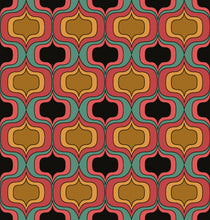 Load image into Gallery viewer, This picture shows aa geometric groovy pattern, in colours oranges and pinks with pops of black and green, for the reversible side of a neoprene picnic blanket and play mat, by Pink Lake Road.