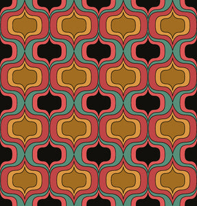 This picture shows aa geometric groovy pattern, in colours oranges and pinks with pops of black and green, for the reversible side of a neoprene picnic blanket and play mat, by Pink Lake Road.