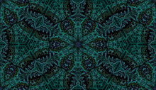 Load image into Gallery viewer, This picture shows a mandala inspired pattern in blues, greens and black, for the reversible side of a neoprene picnic blanket and play mat, by Pink Lake Road.