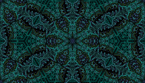This picture shows a mandala inspired pattern in blues, greens and black, for the reversible side of a neoprene picnic blanket and play mat, by Pink Lake Road.
