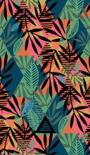 Load image into Gallery viewer, A geometric diamond pattern of orange, pinks, blues and greens, with an overlay of silhouetted leaves, for the reverse side of a neoprene picnic blanket and play mat.